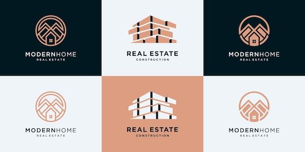 Kolekcja luksusowego zestawu architektury budynków, szablony projektów logo nieruchomości