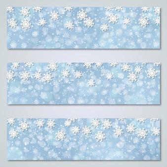 Kolekcja luksusowych niebieskich banerów świątecznych i noworocznych