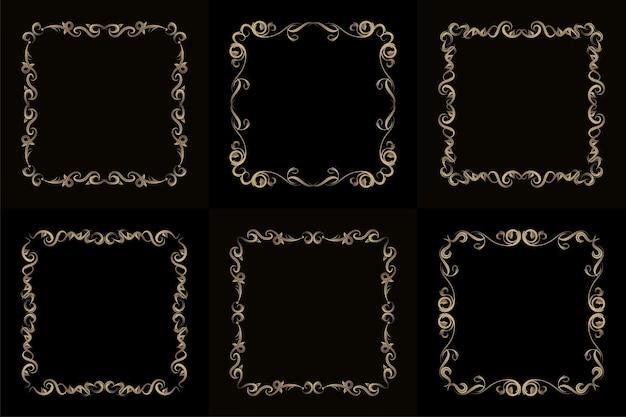Kolekcja luksusowych ornamentów lub ramek kwiatowych