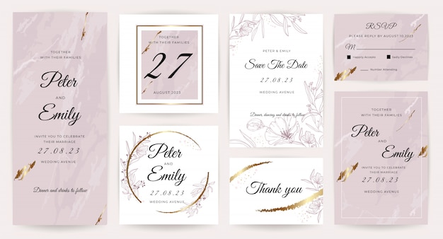 Kolekcja luksusowych zaproszenia ślubne.
