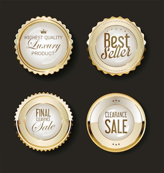 Kolekcja luksusowych złotych elementów etykiet