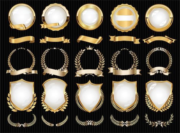 Kolekcja luksusowych złotych elementów odznaki etykiet i laurów