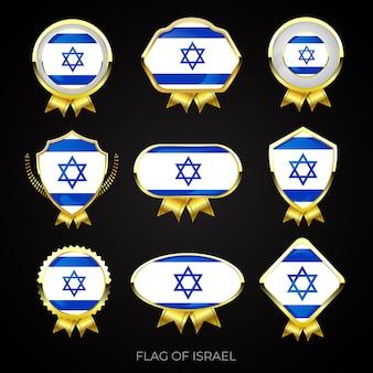Kolekcja luksusowych złotych flag odznaki izraela