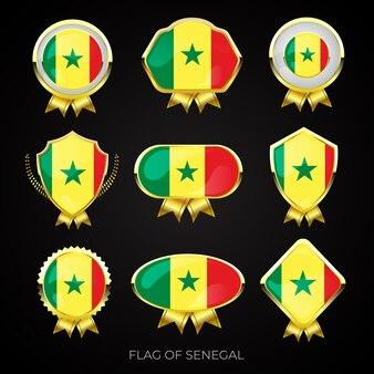 Kolekcja luksusowych złotych flag odznaki senegalu