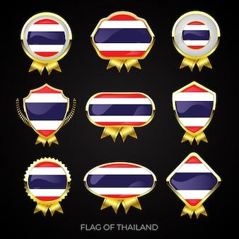 Kolekcja luksusowych złotych flag odznaki tajlandii