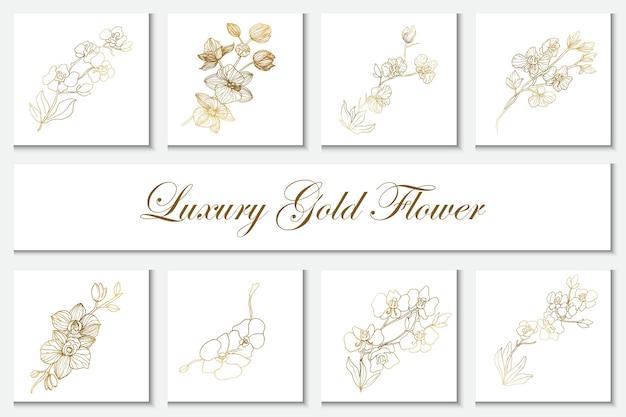 Kolekcja luksusowych złotych kwiatów elementu linii sztuki ilustracji