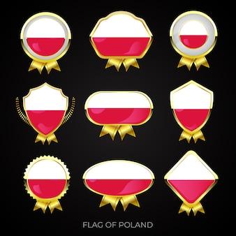 Kolekcja luksusowych złotych odznak flagowych polski