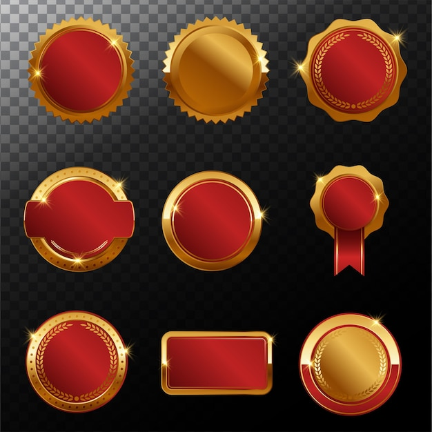 Kolekcja luksusowych złotych odznak premium premium