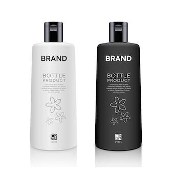 Kolekcja makieta produktów czarno-białych butelek na białym tle na whtie wektor tle