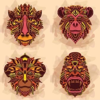 Kolekcja małpiej głowy w ciepłym kolorze