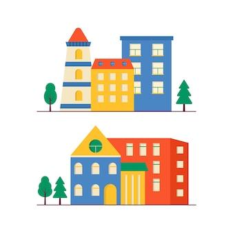 Kolekcja małych nowoczesnych domów elewacji z oknem, garażem, balkonem i dachem. na zewnątrz budynku mieszkalnego z drzewami. ilustracja wektorowa gród. proste tło w geometrycznym stylu