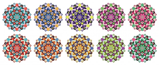 Kolekcja mandali w wielu kolorach