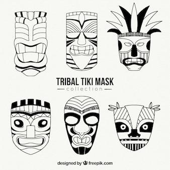Kolekcja maski tribiki tiki