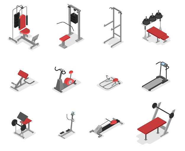 Kolekcja maszyn do ćwiczeń na siłownię. zestaw sprzętu do fitnessu i budowy mięśni. idea zdrowego stylu życia. ilustracja izometryczna ector