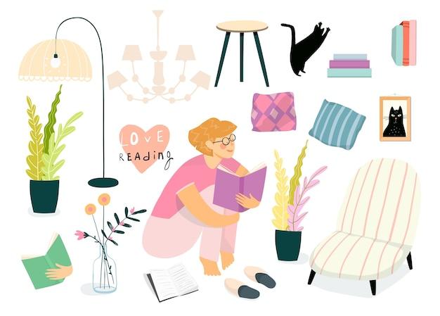 Kolekcja mebli i przedmiotów wnętrza domu, kobieta lub dziewczyna siedzi czytanie książki. na białym tle codzienne życie pokój dzienny kolekcja obiektów z młodą dziewczyną lub nastolatkiem, czytanie.