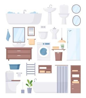 Kolekcja mebli łazienkowych do łazienki z wanną i prysznicem