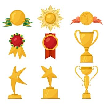 Kolekcja medali i złotych kubków na białym tle.