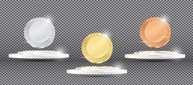 Kolekcja medali na przezroczystym tle