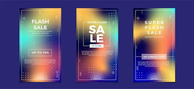 Kolekcja mediów społecznościowych sprzedaży flash z niewyraźnym kolorem gradientu