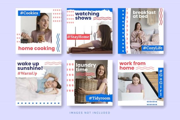 Kolekcja mediów społecznościowych zostań w domu