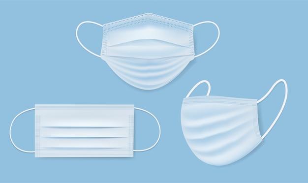 Kolekcja medyczna maska ustawiona na białym tle na niebieskim tle