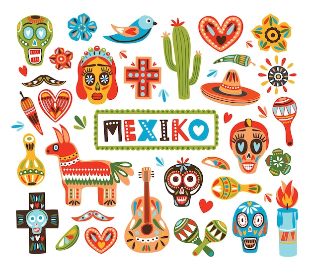 Kolekcja meksykańskich elementów narodowych na białym tle