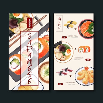 Kolekcja menu sushi dla restauracji. szablon z ilustracjami akwarela żywności.