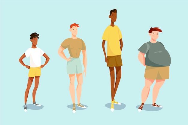 Kolekcja męskich kształtów ciała
