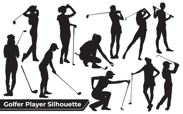 Kolekcja męskich sylwetek golfisty w różnych pozach