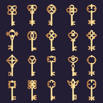 Kolekcja metalowych kluczy. kolekcja kluczy stalowych sylwetki symbole logo wektor bezpieczeństwa. ilustracja złoty klucz do drzwi bezpieczeństwa, ochrona bezpieczna