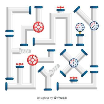 Kolekcja metalowych rurociągów z przyrządami o płaskiej konstrukcji