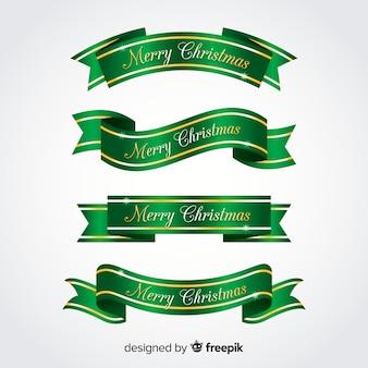 Kolekcja metalowych wstążek świątecznych