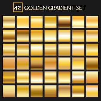 Kolekcja metalowych złotych gradientów