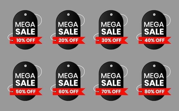 Kolekcja metek z ceną. oferty specjalne etykiety sprzedaży wstążki