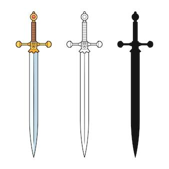 Kolekcja mieczy na białym tle