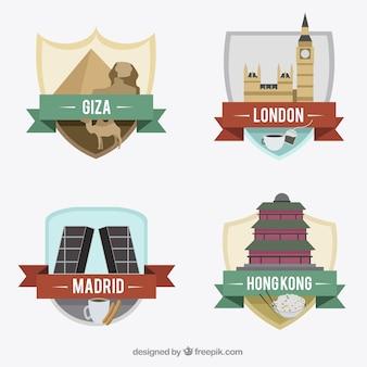 Kolekcja międzynarodowych odznaki miasta