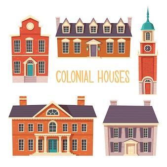 Kolekcja miejskich budynków kolonialnych