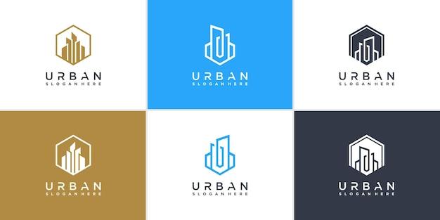 Kolekcja miejskich logo w nowoczesnym stylu linii premium wektorów