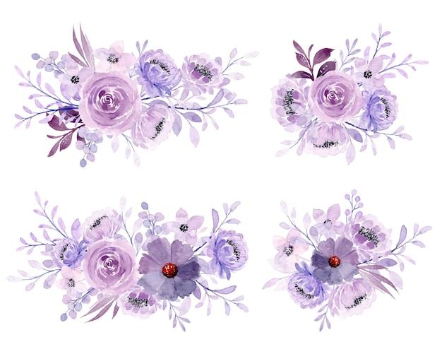 Kolekcja miękkich fioletowych akwarela kwiatowy bukiet