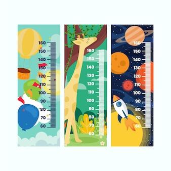 Kolekcja mierników wysokości w płaskiej konstrukcji