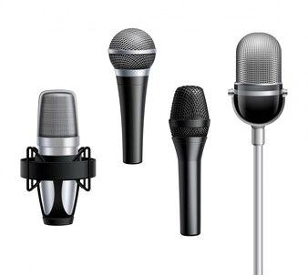 Kolekcja mikrofonów w realistycznym stylu
