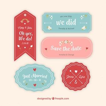Kolekcja miłych odznak ślubnych