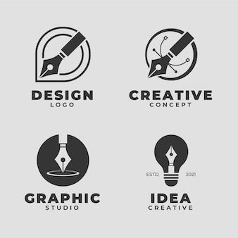 Kolekcja minimalistycznego płaskiego logo projektanta graficznego