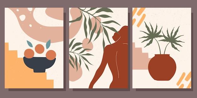 Kolekcja minimalistycznych plakatów abstrakcyjne kształty ilustracji wektorowych