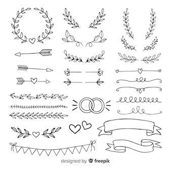 Kolekcja minimalistycznych ręcznie rysowane ozdoby ślubne