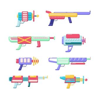 Kolekcja miotaczy wektorowych. zestaw kolorowych zabawek. futurystyczny projekt broni. kosmiczne gry pistolet ikony na białym tle.
