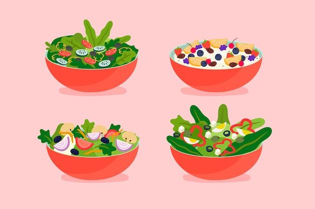 Kolekcja misek na owoce i sałatki