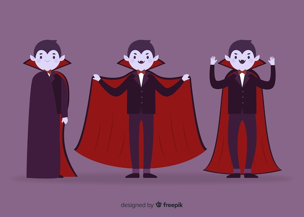 Kolekcja młodych dorosłych postaci płaskich wampirów