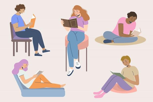 Kolekcja młodych ludzi czytających książki