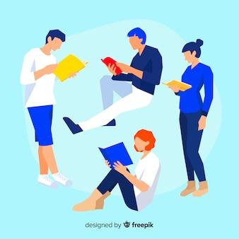 Kolekcja młodych ludzi czytających